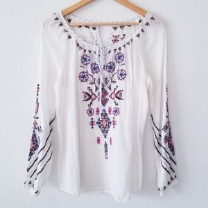 New Johnny Was White Embroidered Long Sleeve Top